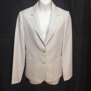 Vintage 70s white navy pinstriped blazer M